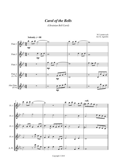 Carol of the Bells (Ukrainian Bell Carol) - Jazz Arrangement for Flute Quartet