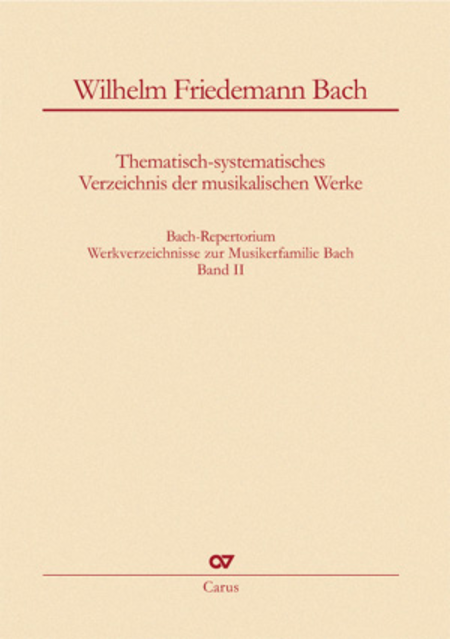 Bach-Repertorium, volume 2: Wilhelm Friedemann Bach