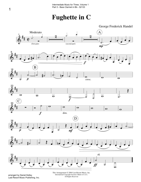 Intermediate Music for Three, Volume 1 - Part 3 for Bass Clarinet
