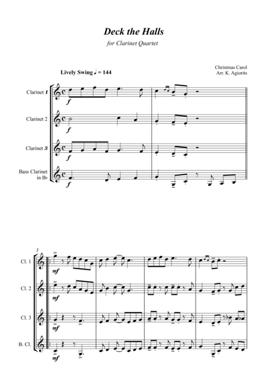 Deck the Halls - Jazz Carol for Clarinet Quartet