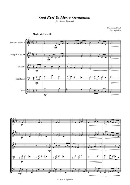God Rest Ye Merry Gentlemen - for Brass Quintet/Ensemble