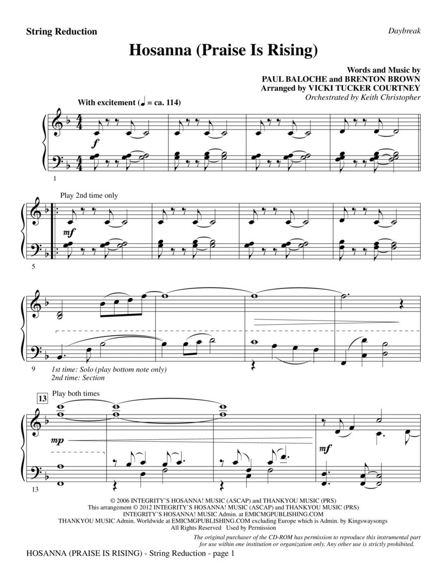Hosanna (Praise Is Rising) - Keyboard String Reduction