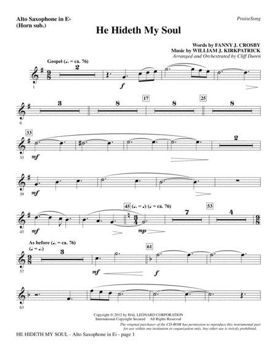 He Hideth My Soul - Alto Sax (sub. Horn)