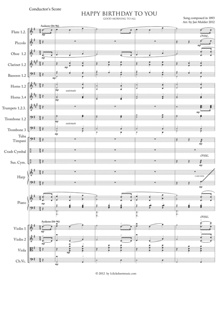 Happy Birthday - Conductor's Score (Symphony Orchestra)