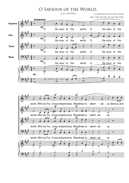 O Saviour Of The World - Organ