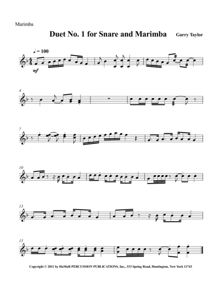 Duet No. 1 for Snare Drum & Marimba