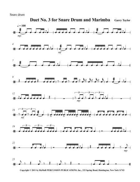 Duet No. 3 for Snare Drum & Marimba