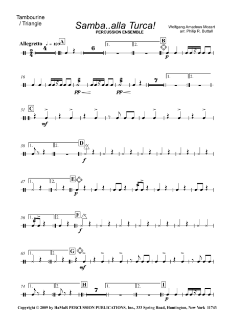 Samba. . .alla Turca! For Percussion Ensemble