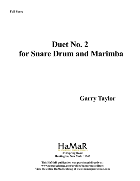 Duet No. 2 for Snare Drum & Marimba