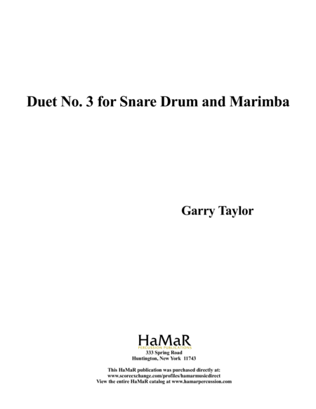 Duet No. 3 for Snare Drum & Marimba