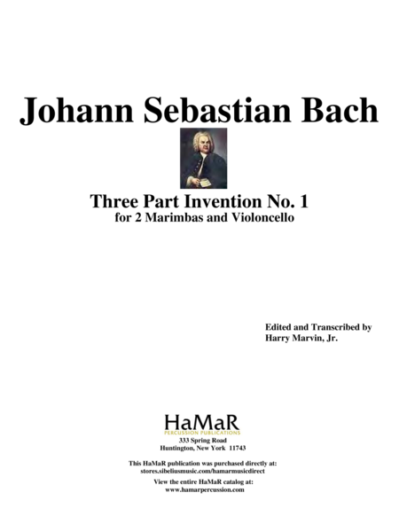 Three Part Invention No. 1 for 2 Marimbas & Cello