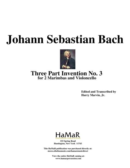 Three Part Invention No. 3 for 2 Marimbas & Cello