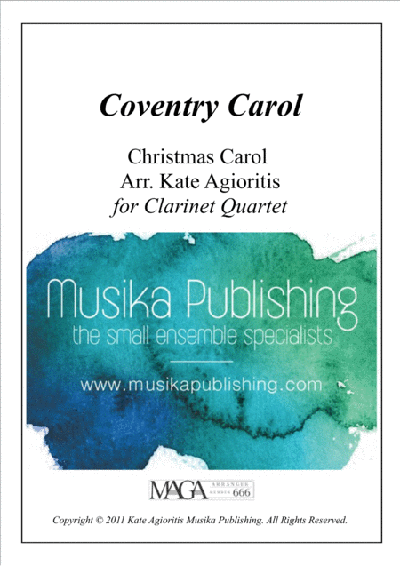 Coventry Carol - Jazz Carol for Clarinet Quartet