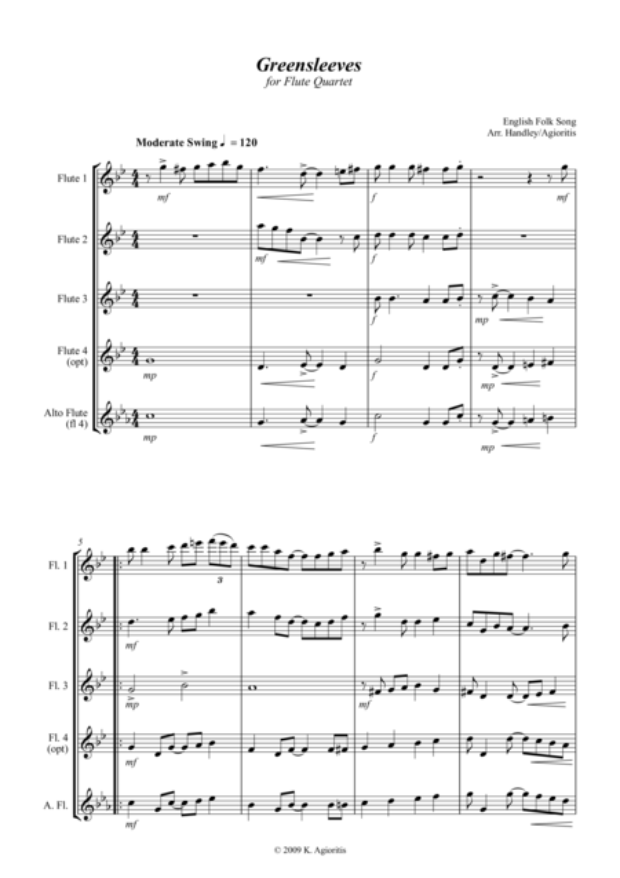 Greensleeves (What Child Is This?) - Jazz Arrangement for Flute Quartet