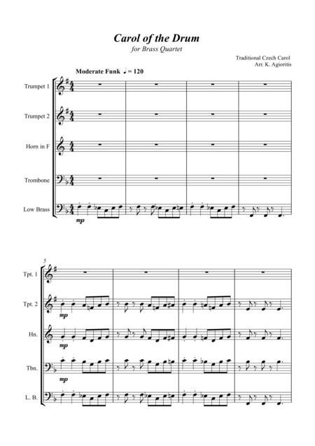 Carol of the Drum - for Brass Quartet