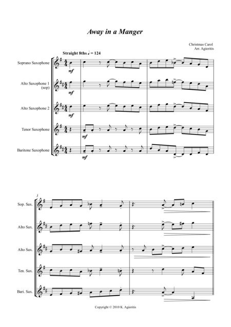 Jazz Carols Collection for Saxophone Quartet - Set Four: Away in a Manger; O Little Town of Bethlehem and Carol of the Drum