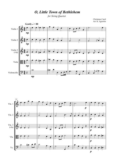 O Little Town of Bethlehem - Jazz Carol for String Quartet