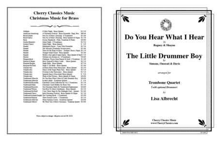 Do You Hear What I Hear/Little Drummer Boy for 4 Trombones w opt. Drums