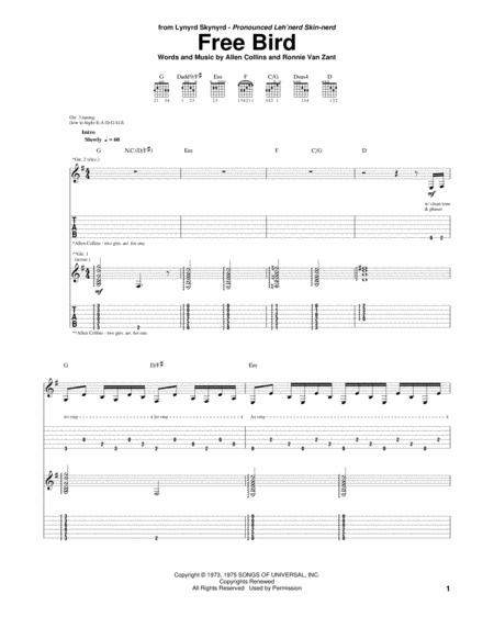 download free bird sheet music by lynyrd skynyrd sheet music plus. Black Bedroom Furniture Sets. Home Design Ideas