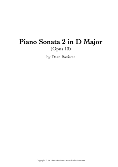 Piano Sonata 2 in D Major (Opus 13)