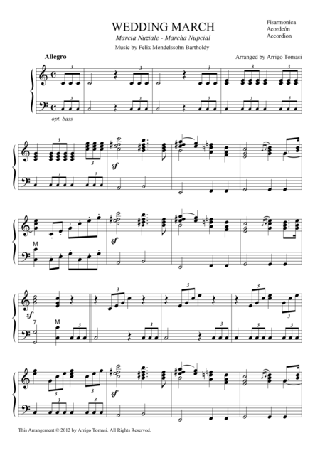 Mendelssohn's Wedding March for accordion