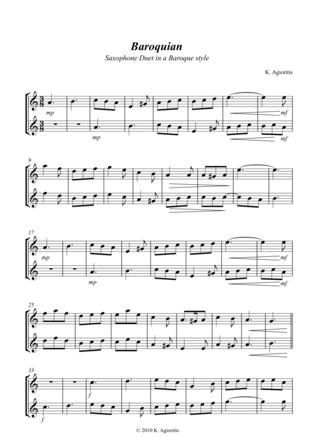 Baroquian - Duet for 2 Saxophones in a Baroque Style