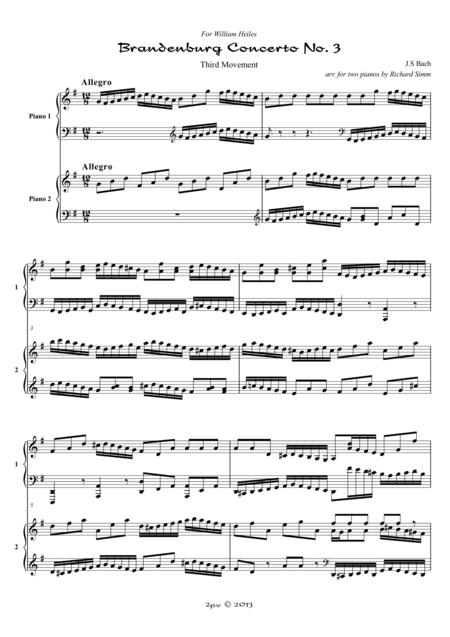 Brandenburg Concerto No. 3, Third Movement, for 2 pianos