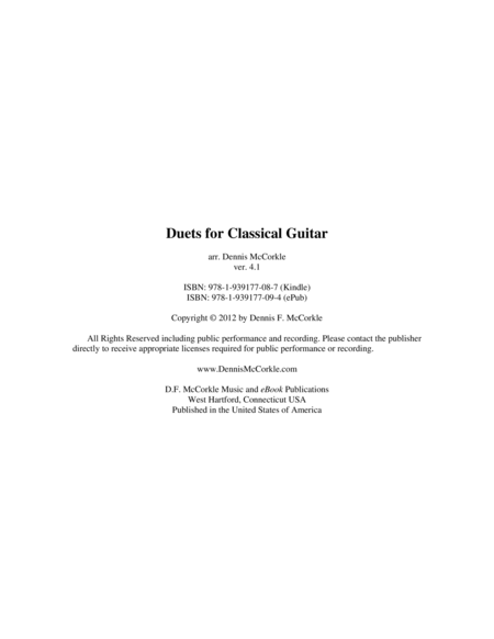 Duets for Classical Guitar