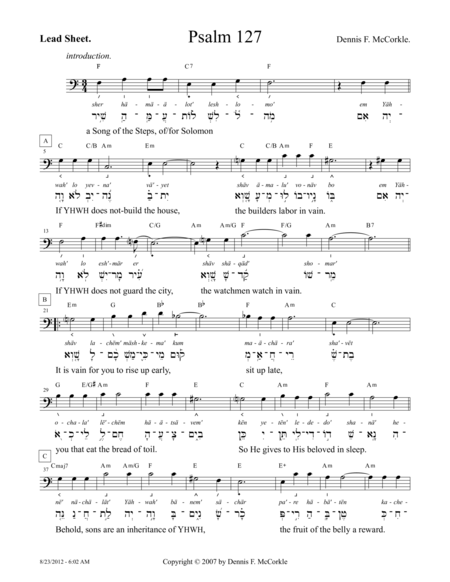 Psalm 127 (Song of the Steps, for Solomon)
