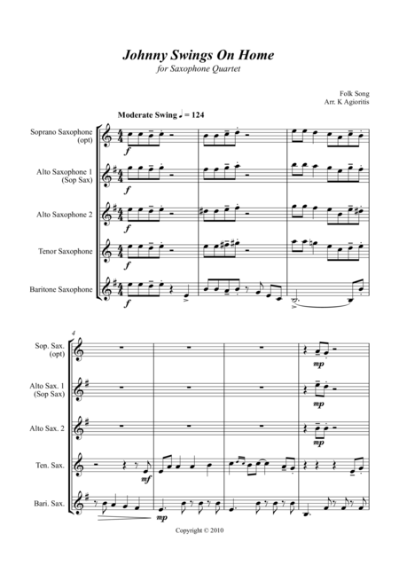 Johnny Swings On Home (When Johnny Comes Marching Home) - for Saxophone Quartet