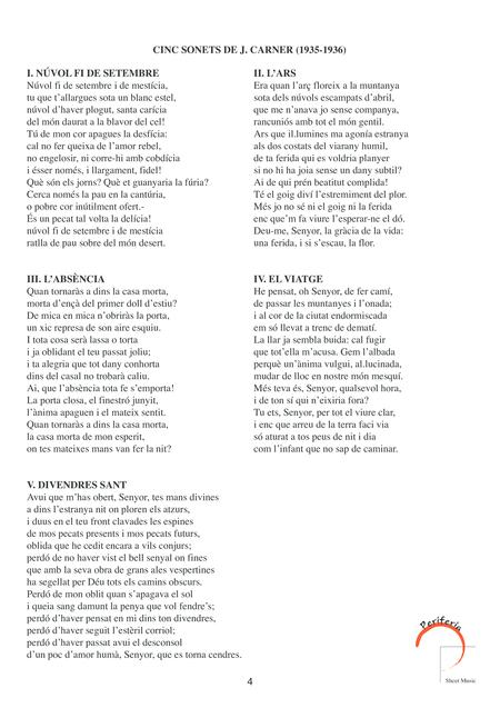 Cinc sonets de J. Carner