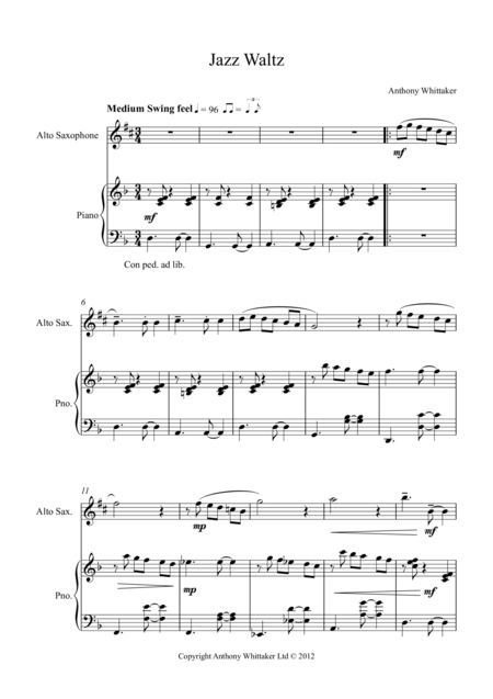 Jazz Waltz for Alto Sax
