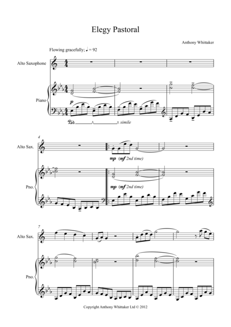 Elegy Pastorale for Alto Sax and Piano