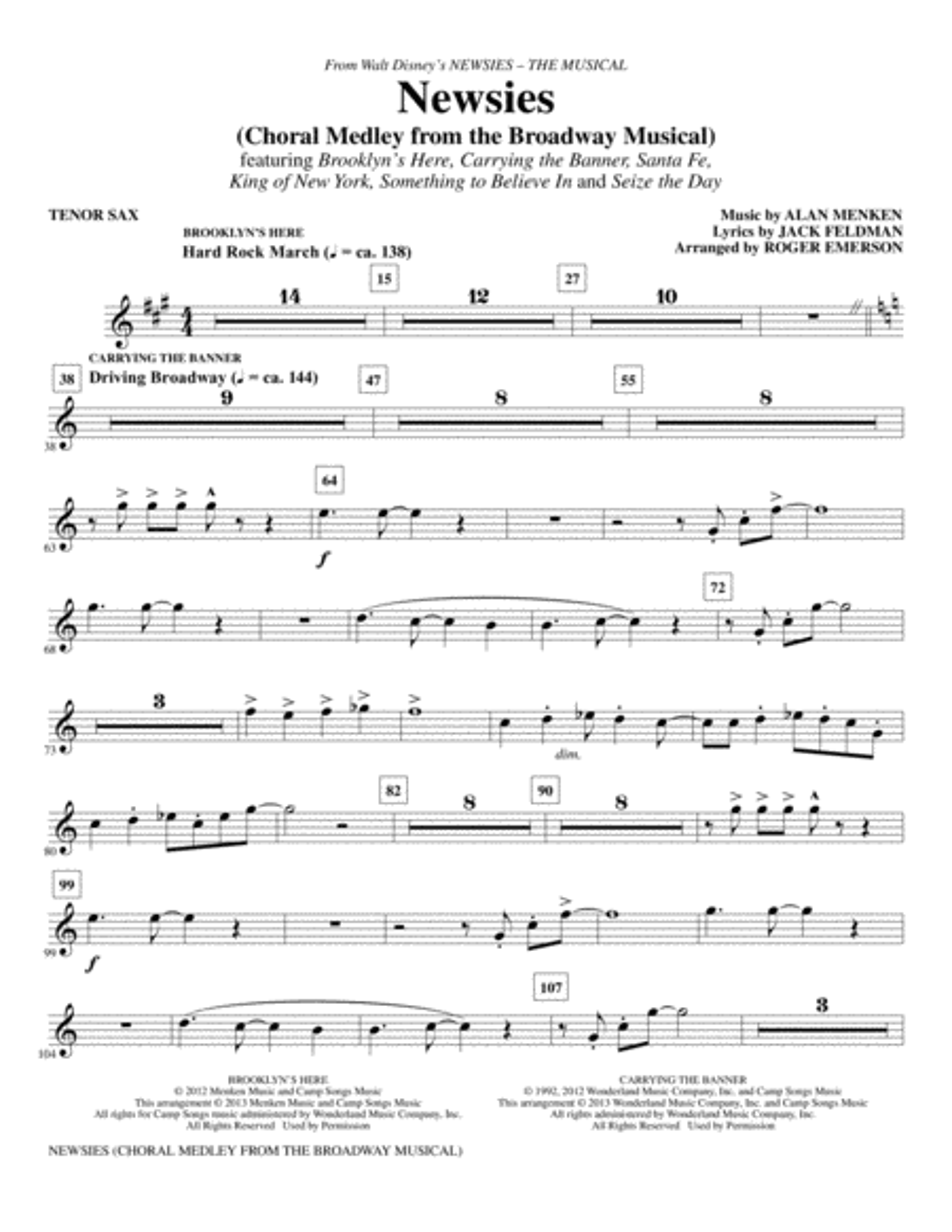 Newsies (Choral Medley) - Tenor Saxophone
