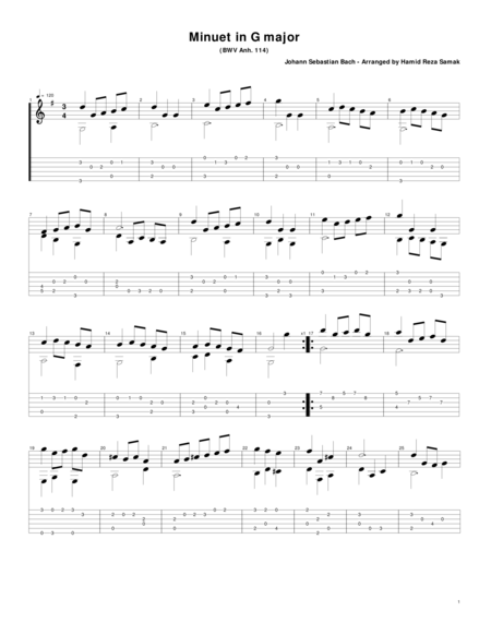 Bach Minuet in G for Guitar