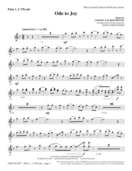 Ode To Joy (Does Not Match SATB 08752035) - Flute 1,2/Piccolo