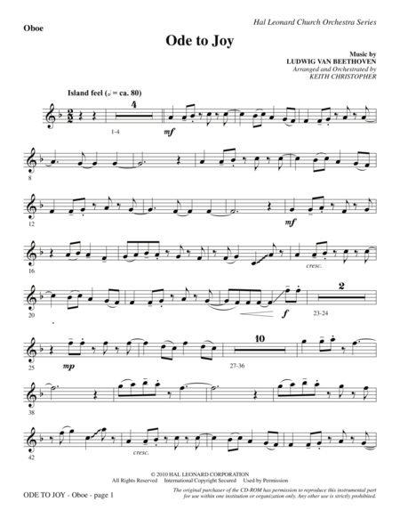 Ode To Joy (Does Not Match SATB 08752035) - Oboe