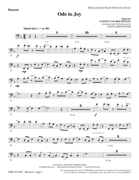 Ode To Joy (Does Not Match SATB 08752035) - Bassoon