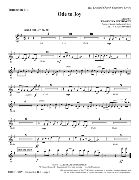 Ode To Joy (Does Not Match SATB 08752035) - Bb Trumpet 1
