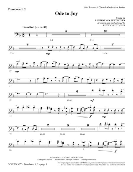 Ode To Joy (Does Not Match SATB 08752035) - Trombone 1 & 2