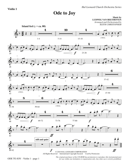 Ode To Joy (Does Not Match SATB 08752035) - Violin 1