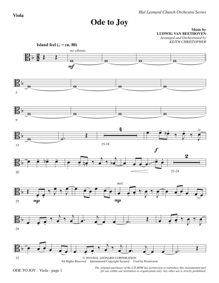 Ode To Joy (Does Not Match SATB 08752035) - Viola