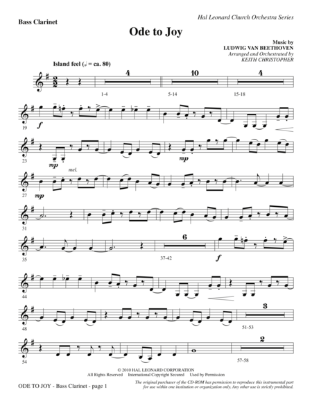 Ode To Joy (Does Not Match SATB 08752035) - Bass Clarinet (sub. Bassoon)