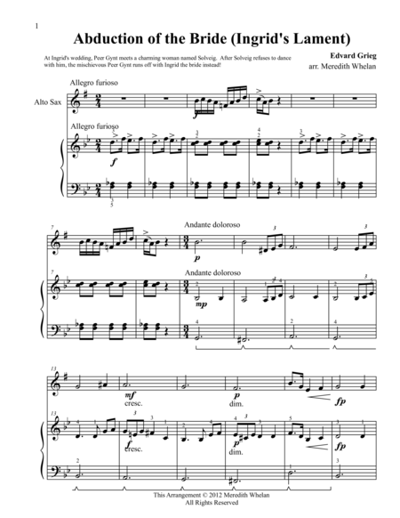 Classical Duets for Alto Saxophone & Piano:  Ingrid's Lament (Abduction of the Bride)