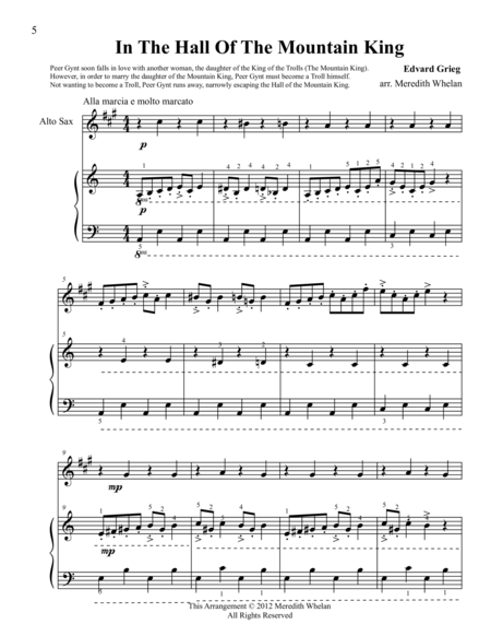 Classical Duets for Alto Saxophone & Piano:  In The Hall of The Mountain King