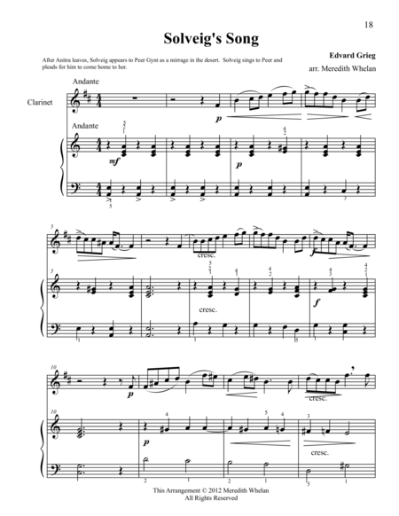 Classical Duets for Clarinet & Piano:  Solveig's Song