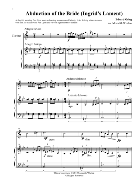 Classical Duets for Clarinet & Piano:  Ingrid's Lament (Abduction of the Bride)