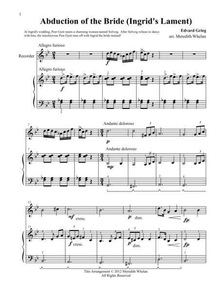 Classical Duets for Recorder & Piano: Abduction of the Bride (Ingrid's Lament)