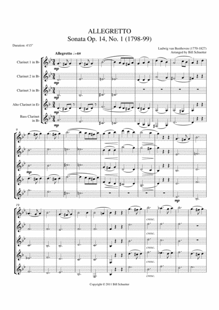 Allegretto From Sonata Opus 14, #1