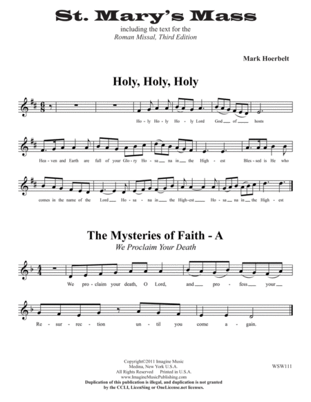 St. Mary's Mass (Vocal Line)